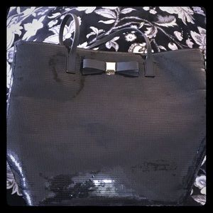 kate spade sequined large tote with black/gold bow